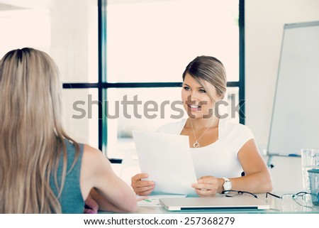 Young professional at job interview - stock photo