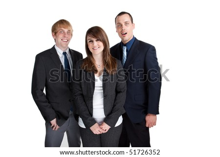 Young professional business team smiling at the camera
