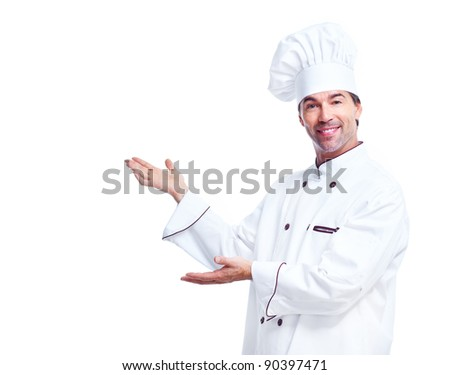 Young professional chef man. Isolated over white background - stock photo