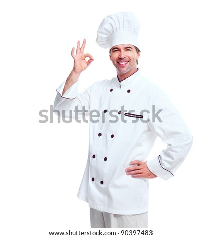 Young professional chef man. Isolated over white background