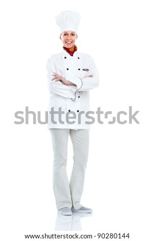 Young professional chef woman. Isolated over white background - stock photo