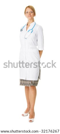 Young professional doctor high-key photo - stock photo
