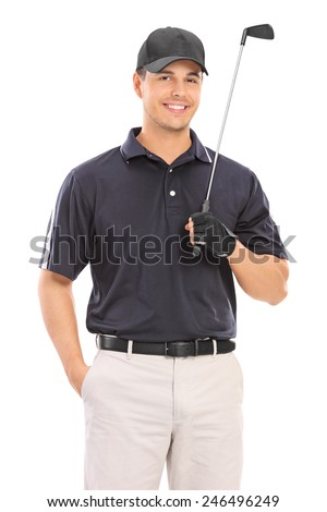 Young professional golfer posing isolated on white background
