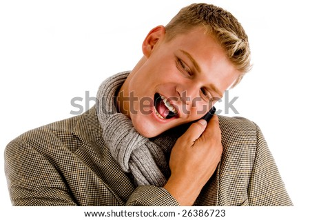 young professional man receiving his call against white background - stock photo