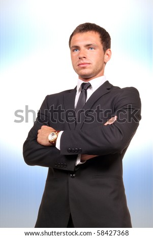 Young professional on abstract background - stock photo
