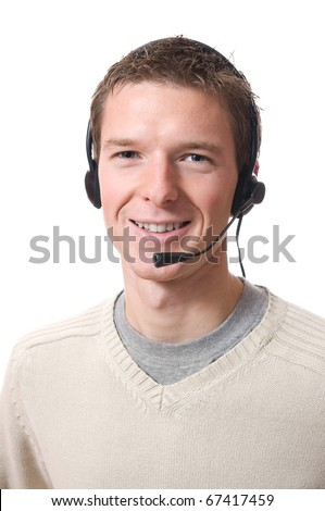 young professional smiling man talking with headset isolated on white background - stock photo