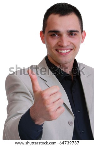 Young professional thumb up on a white background
