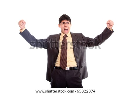 Young professional with arms up in the air on a white background