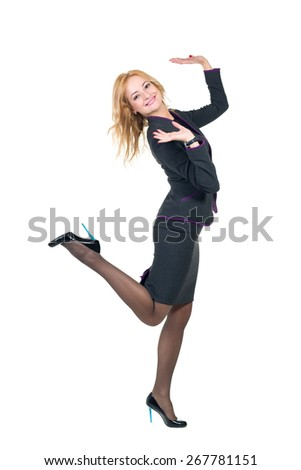 Young professional woman. Caucasian businesswoman isolated on white background in full body - stock photo