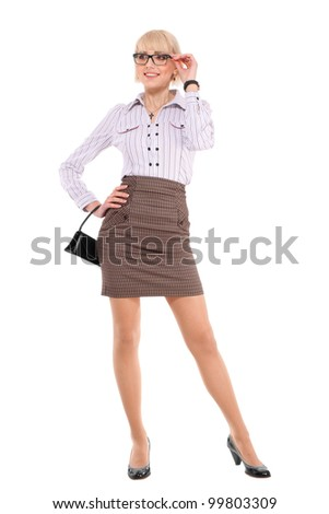 Young professional woman. White Caucasian businesswoman isolated on white background in full body. - stock photo