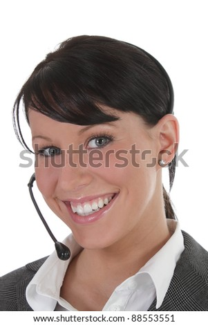 Young professional women wears headset - stock photo