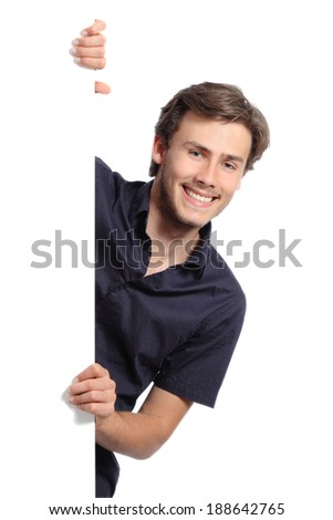 Young promoter man holding a blank banner isolated on a white background               - stock photo