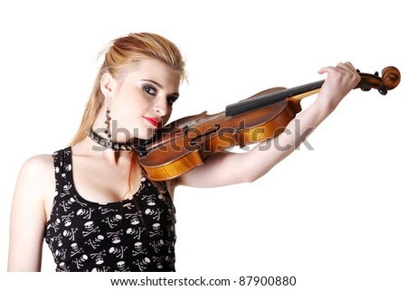 Young punk girl holding her fiddle. Isolated on white. - stock photo