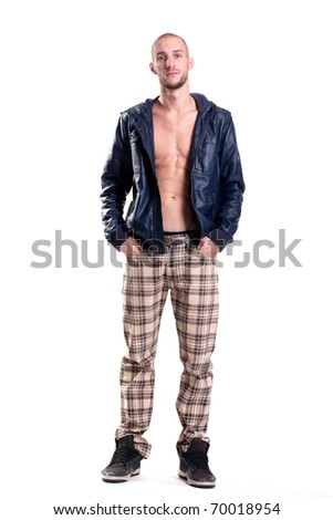 young punk with a textured torso - stock photo