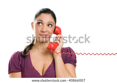 Young questioning woman lie in wait during a phone call isolated on white background
