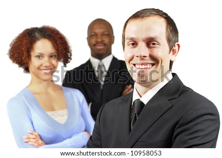 Young, racially diverse business team isolated on white