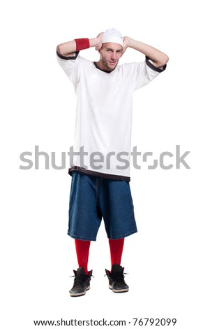 young rapper plug your ears from noise - stock photo