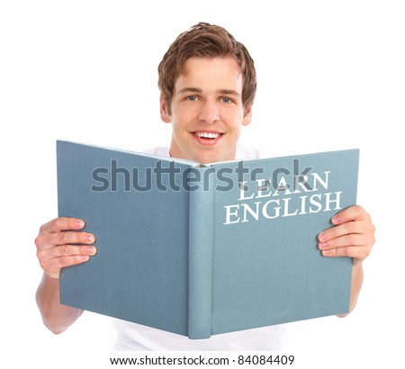 Young reading man. Isolated over white background.