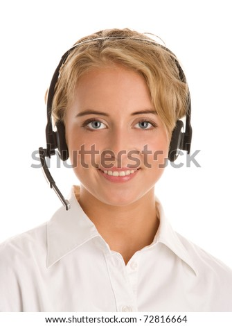 Young receptionist wearing headset isolated on white background - stock photo