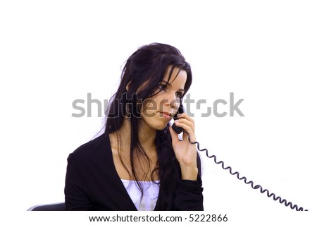 Young receptionist woman receiving a phone call - isolated
