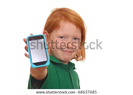 Young red haired girl shows her new smartphone