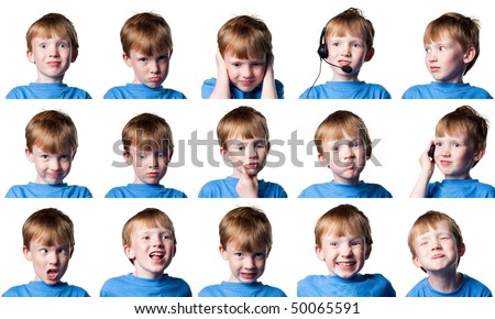 Young red headed boy actor performing many different roles - stock photo