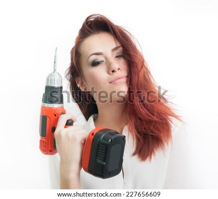 Redhead hammer drill, sxsfat woman