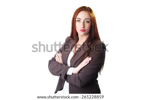 Young redhead Business woman portrait with disgust face expression. Isolated on white - stock photo