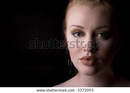 young redhead very beautiful face clean skin