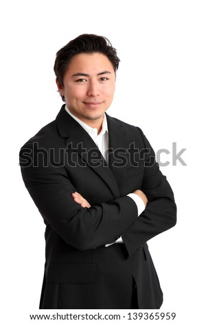 Young relaxed businessman in a White shirt and black jacket. White background. - stock photo
