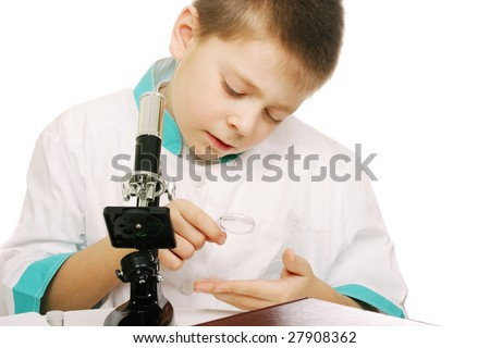 Young researcher examining with magnifying glass isolated - stock photo