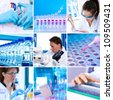 Young researchers work in modern scientific lab, collage - stock photo