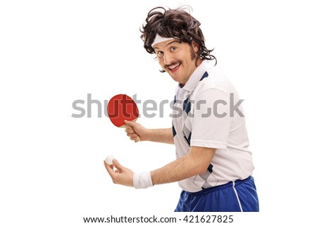 Young retro man playing table tennis and looking at the camera isolated on white background - stock photo