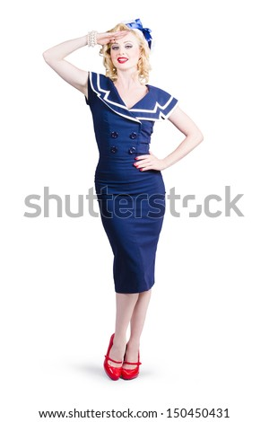 Young retro pinup girl with sexy blond curly hair style and beautiful makeup wearing sailor uniform, over white background - stock photo