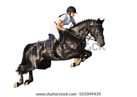 Young rider in jumping show, isolated on white background