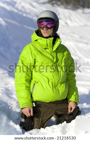 Young rider on the snow looking for a ski slope - stock photo