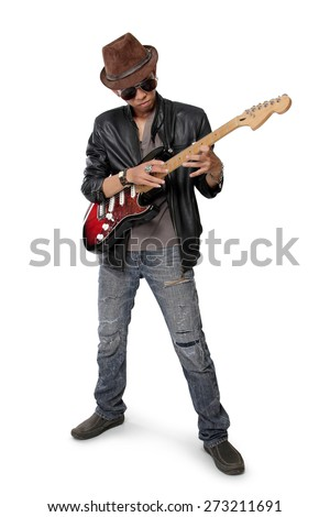 Young rock guitarist practicing tapping technique on electric guitar, isolated on white background