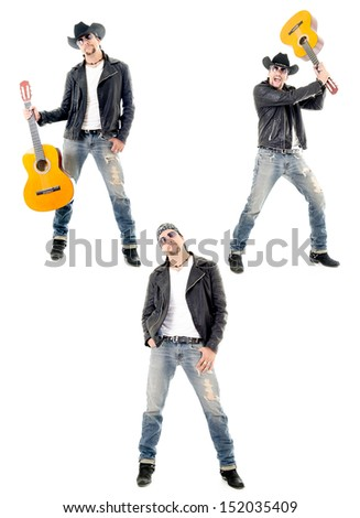 young rock or country man playing guitar - stock photo