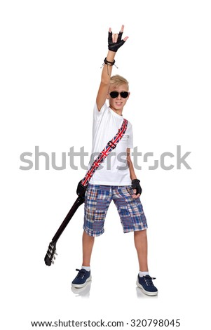 young rocker boy with guitar  isolated on white background - stock photo
