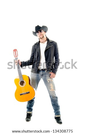 young rocker man performing on a guitar against a white background - stock photo