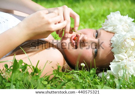 Young, romantic, beautiful girl .Summer portrait . - stock photo