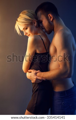 Young Romantic couple in sexual pose.  - stock photo