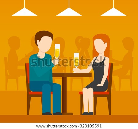 Young romantic couple sitting at the table drinking champagne date in restaurant with people silhouettes on background flat  illustration - stock photo