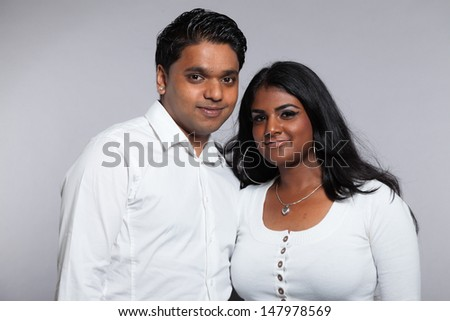 Young Romantic Indian Couple Wearing White Stock Photo 147979412 ...
