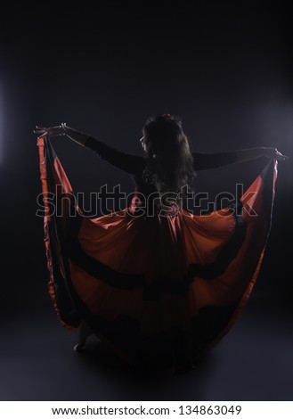 Young romany woman dance spanish flamenco in studio