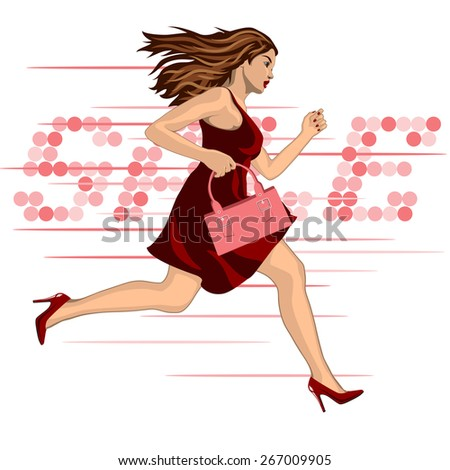young running to sale woman in red dress - stock photo