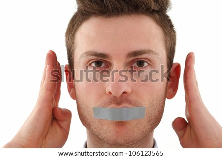 Young Russian man censored with tape - stock photo