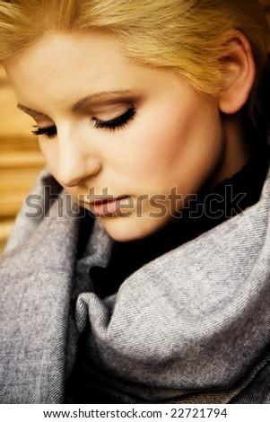 Young sad beautiful woman portrait - stock photo