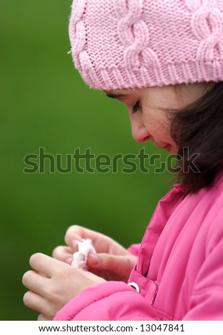 Young sad girl cry and hold her tissue - stock photo