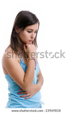 young sad girl portrait, isolated over white